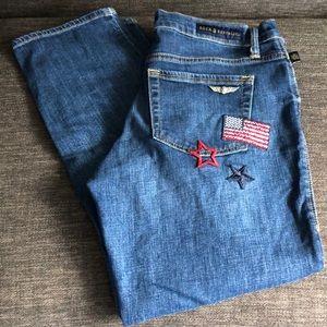 Rock & Republic patch ripped crop jeans size 10